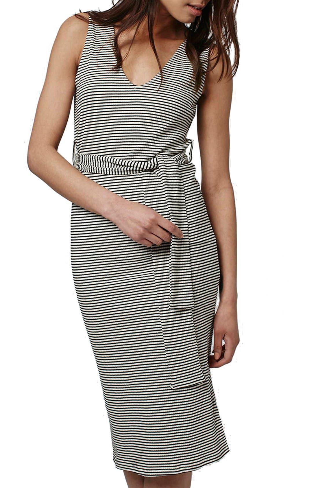Main Image - Topshop Belted Stripe V-Neck Midi Dress