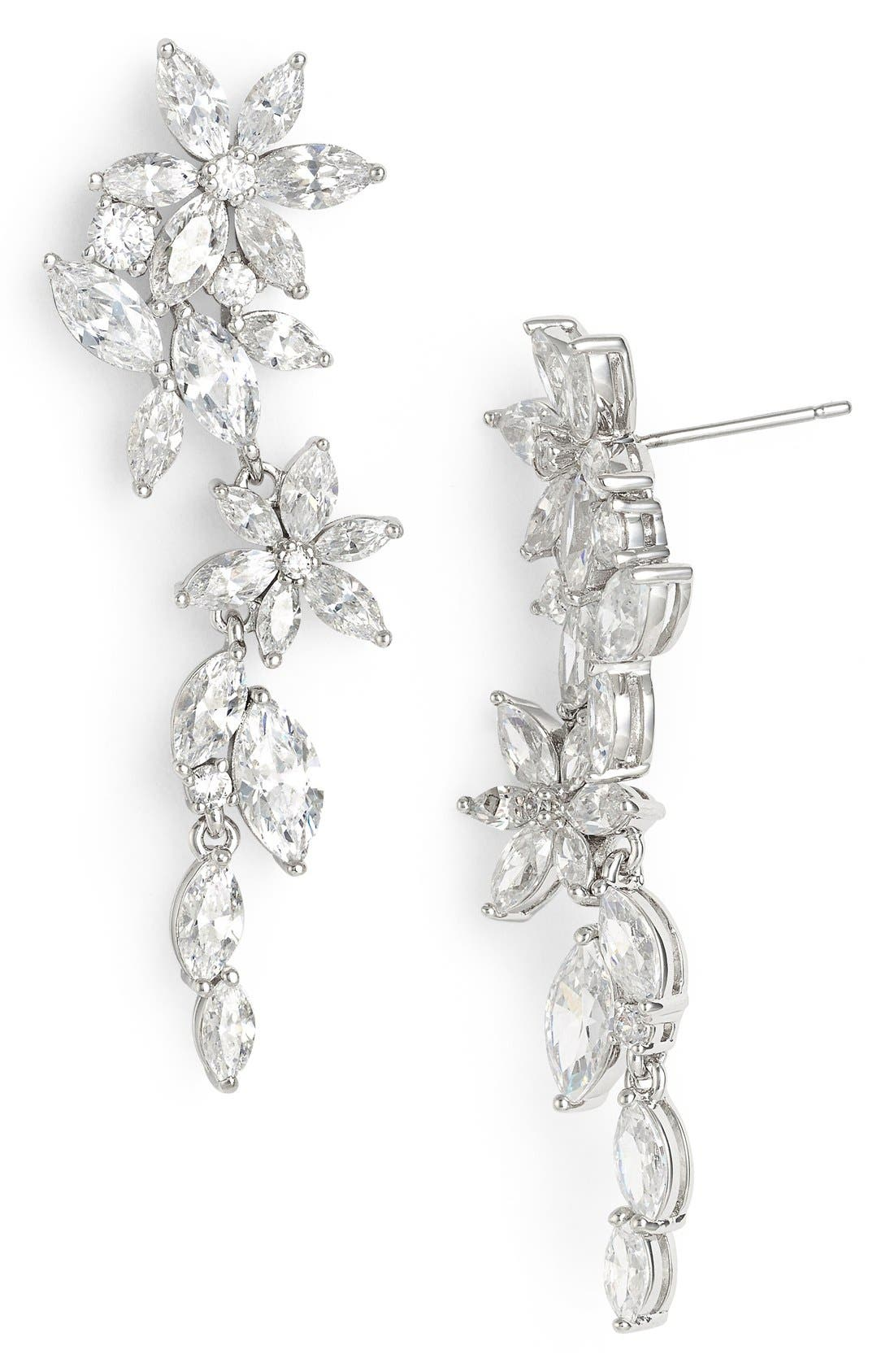 Nadri Floral Crystal Linear Drop Earrings