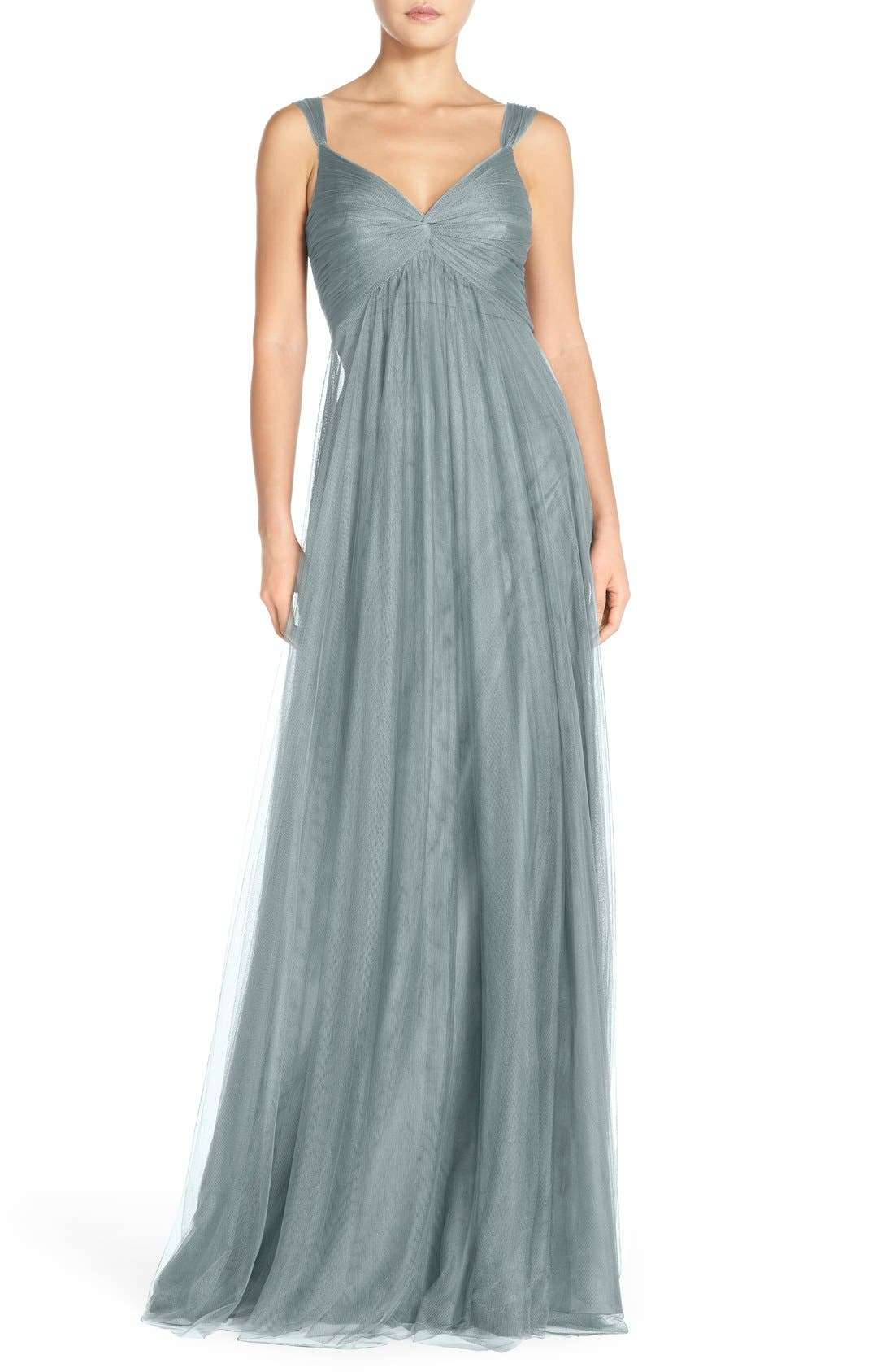 Monique Lhuillier Empire Waist Tulle Twist Front Gown