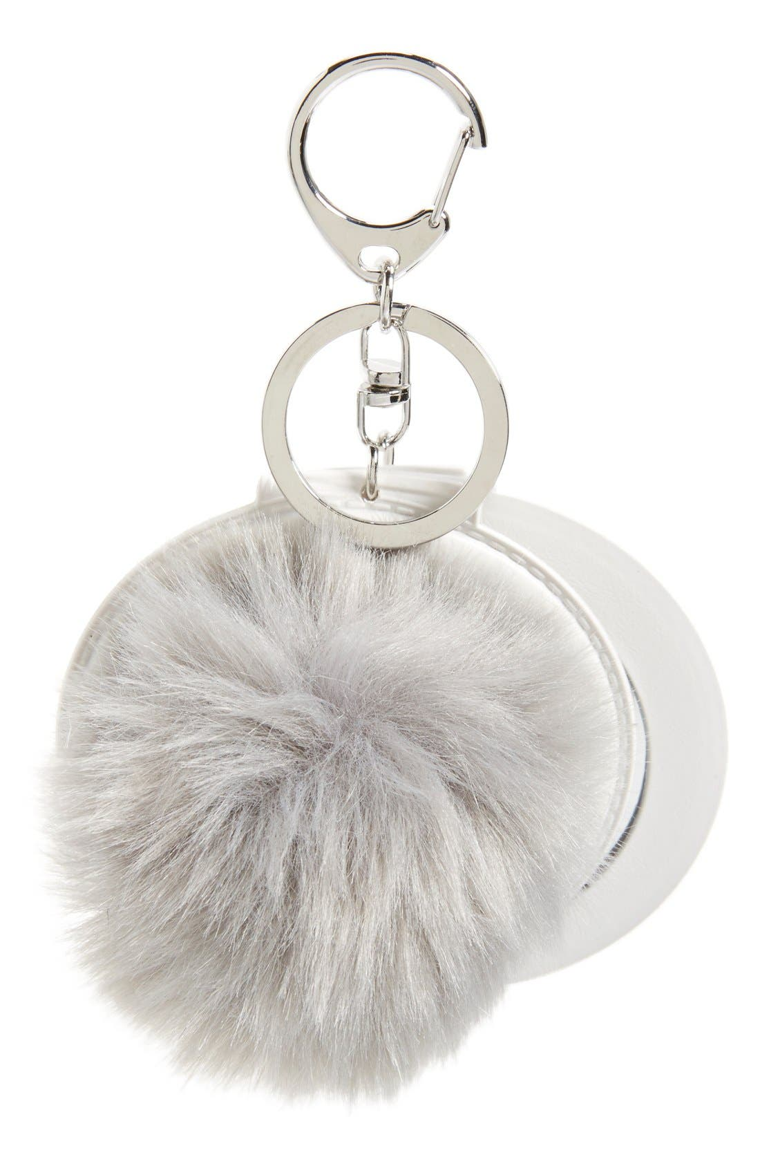 Alternate Image 1 Selected - Topshop Faux Fluffy Pom Key Ring with Mirror