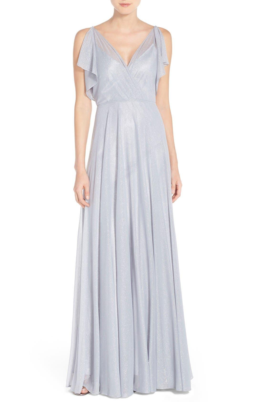 JENNY YOO 'Cassie' V-Neck Flutter Sleeve Shimmer Gown