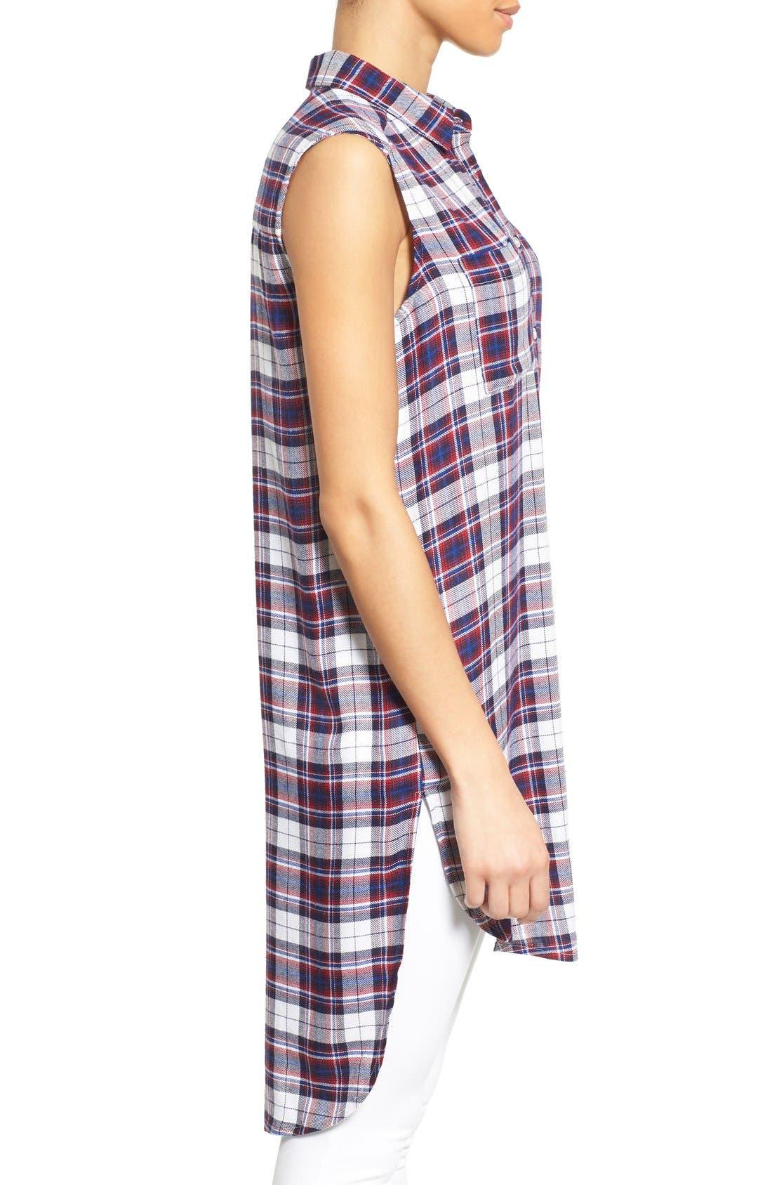Alternate Image 3  - Bobeau Plaid Two Pocket Sleeveless Tunic Shirt