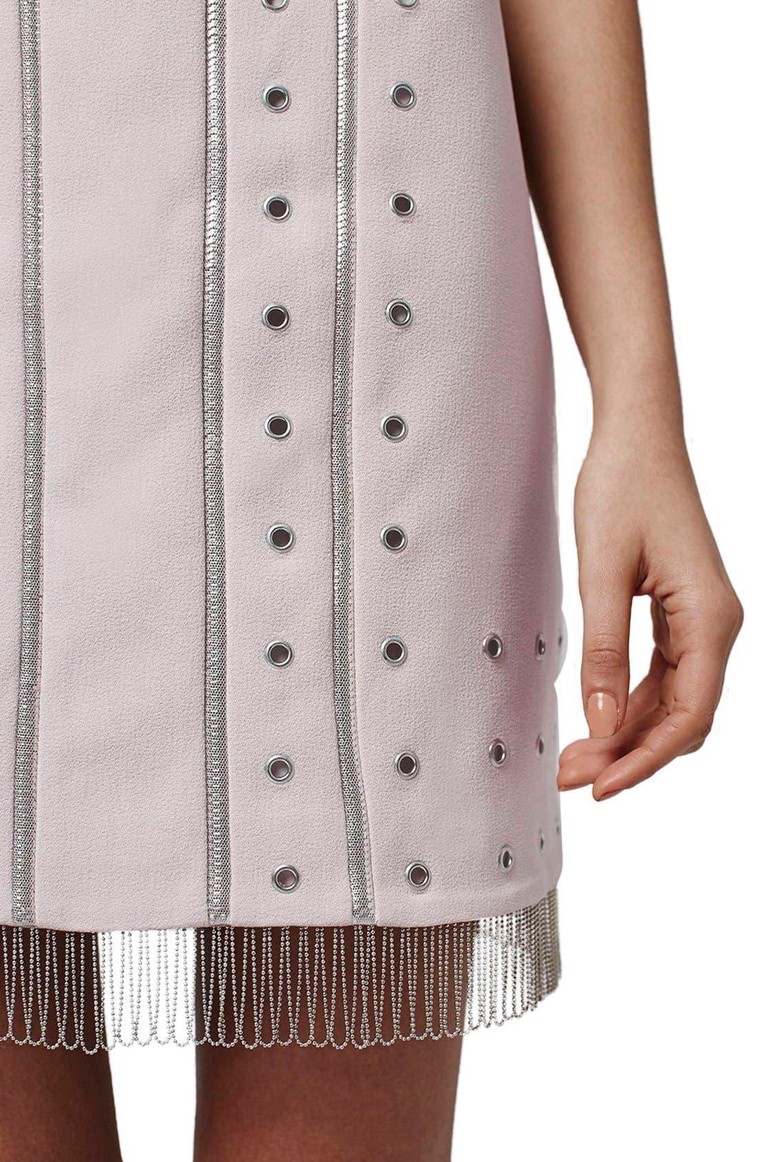 Alternate Image 4  - Topshop Metal Trimmed Fringe Body-Con Dress