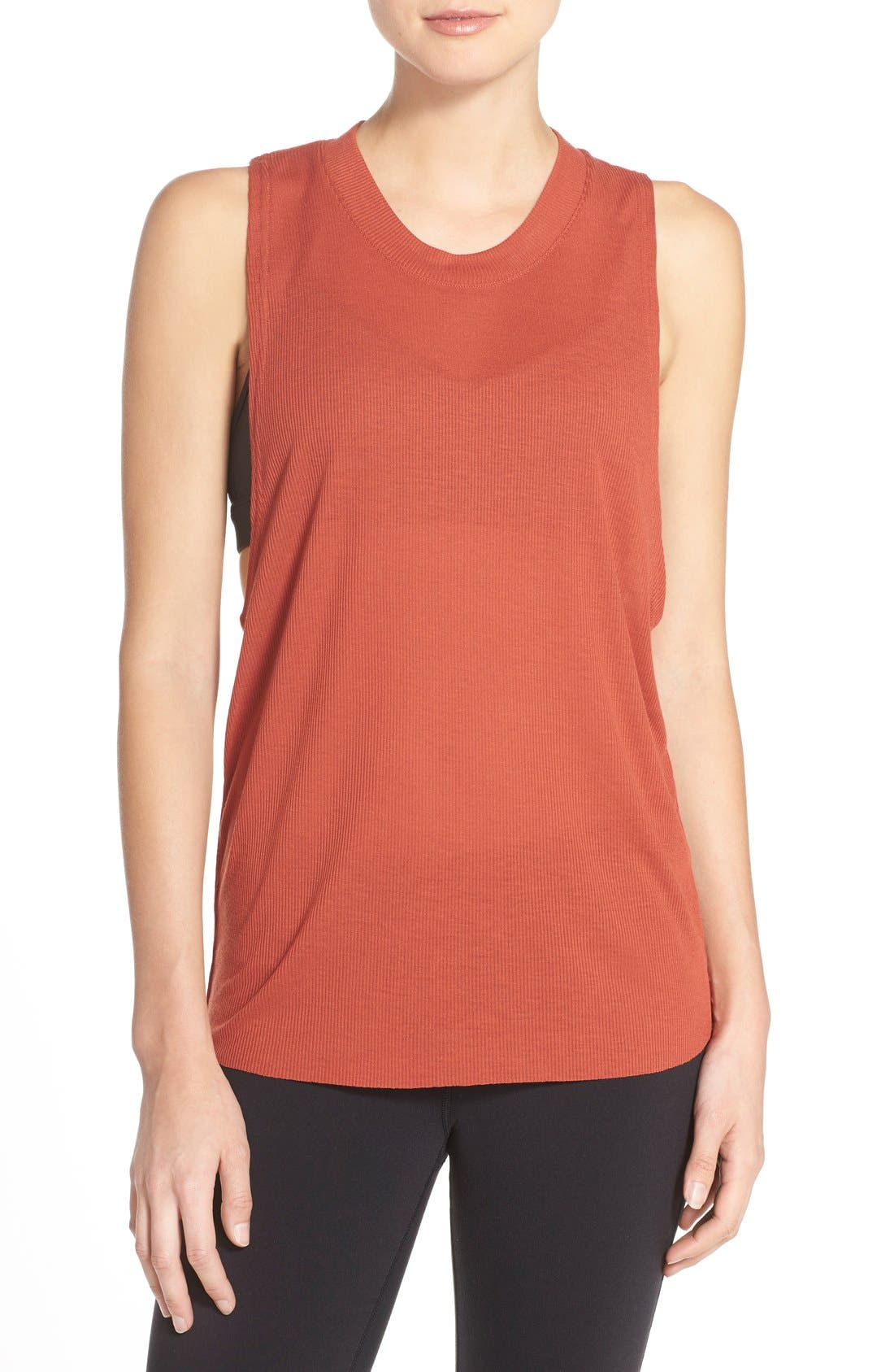 Alternate Image 1 Selected - Alo Heat Wave Ribbed Muscle Tee