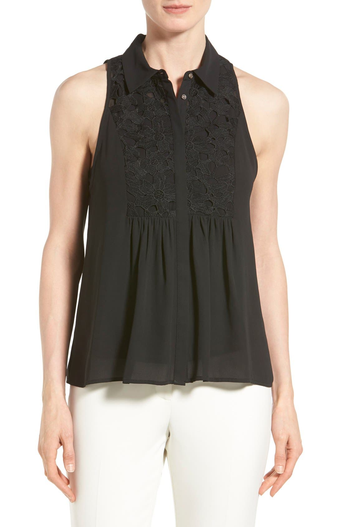Alternate Image 1 Selected - Vince Camuto Lace Trim Sleeveless Blouse