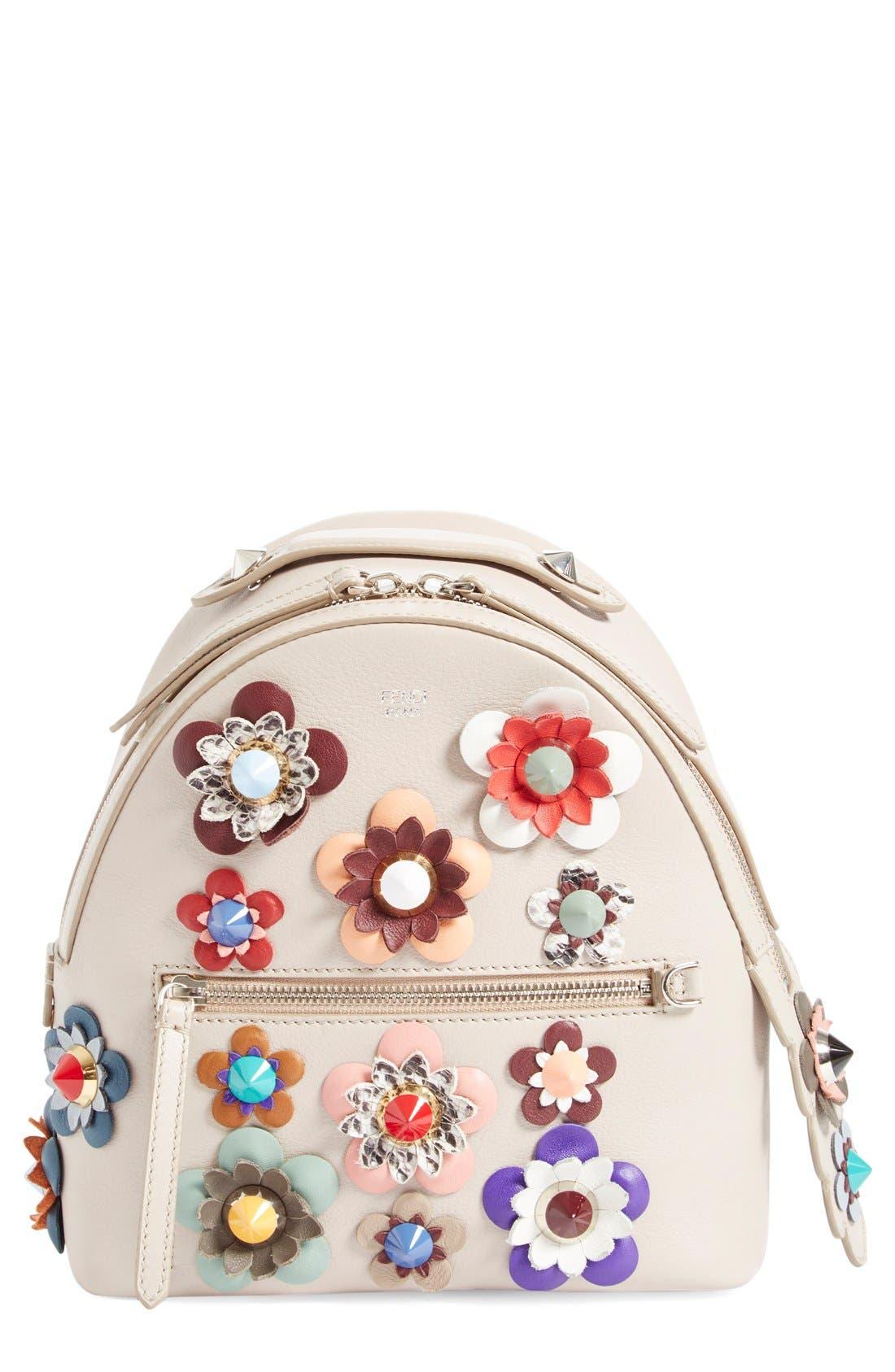Alternate Image 1 Selected - Fendi Floral Appliqué Leather Mini Backpack