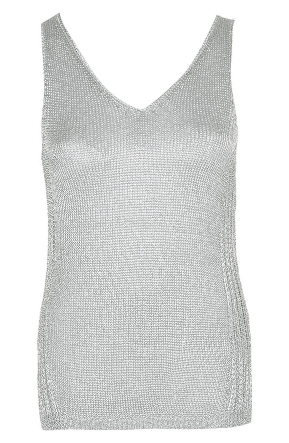 Alternate Image 4  - Topshop Deep V-Neck Metallic Tank (Petite)