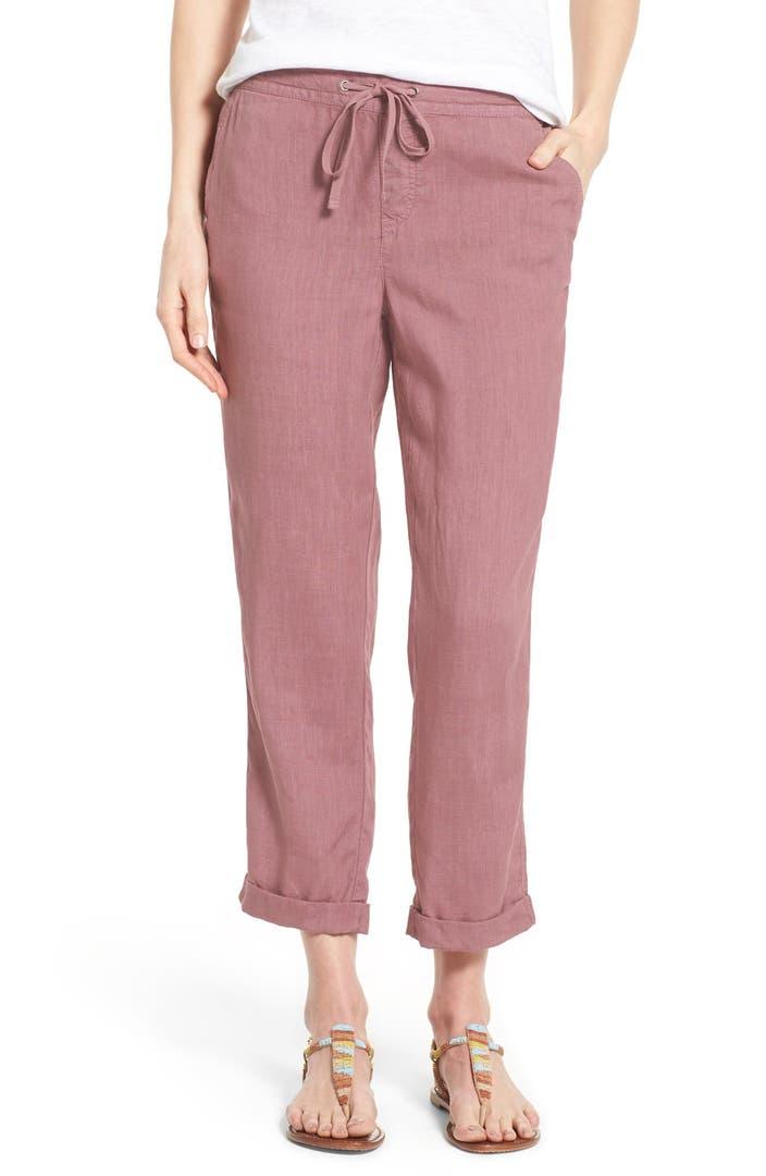Caslon 174 Linen Tie Front Crop Pants Regular Amp Petite