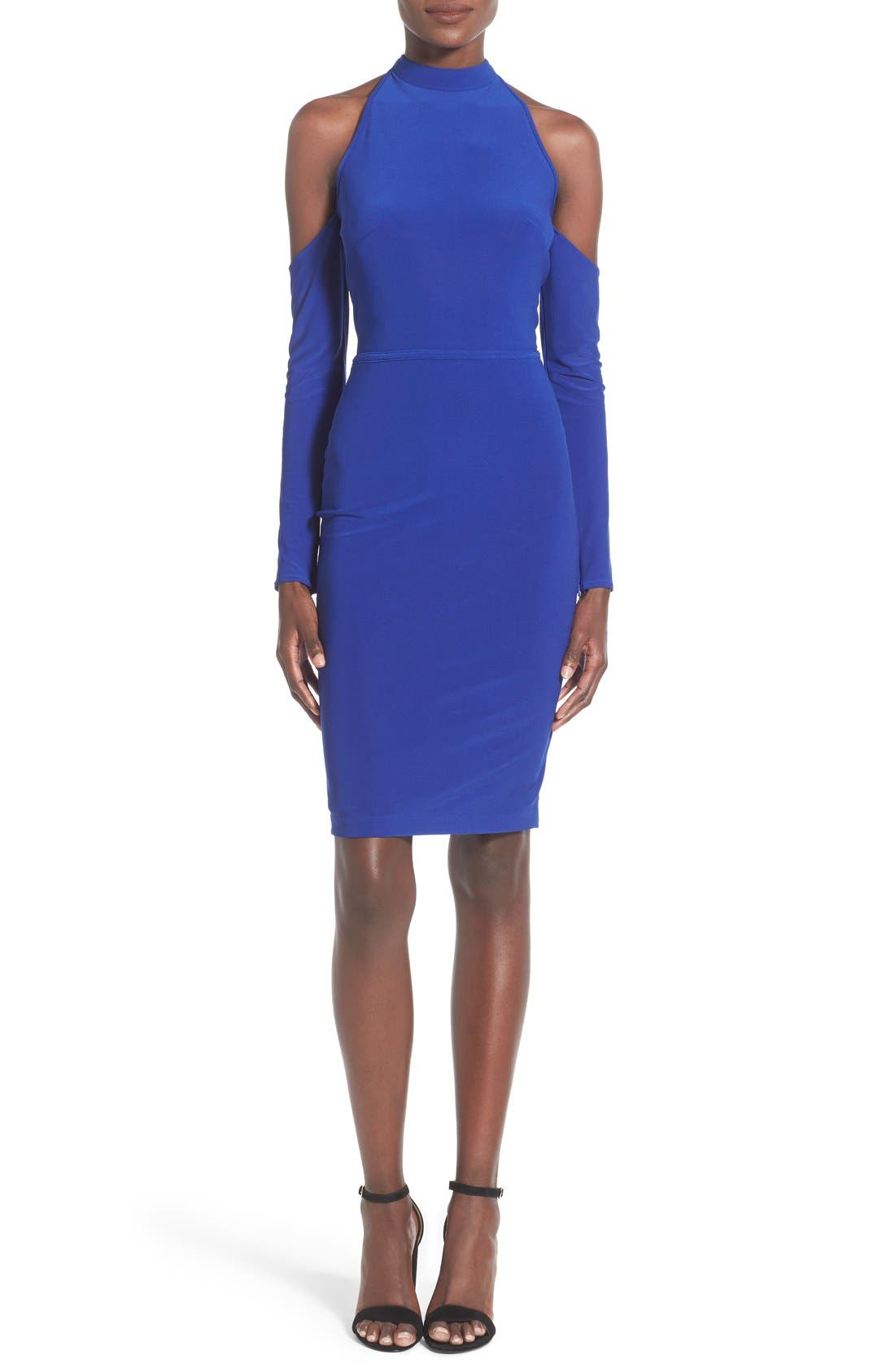 Alternate Image 1 Selected - Mac Duggal Mock Neck Cold Shoulder Body-Con Dress