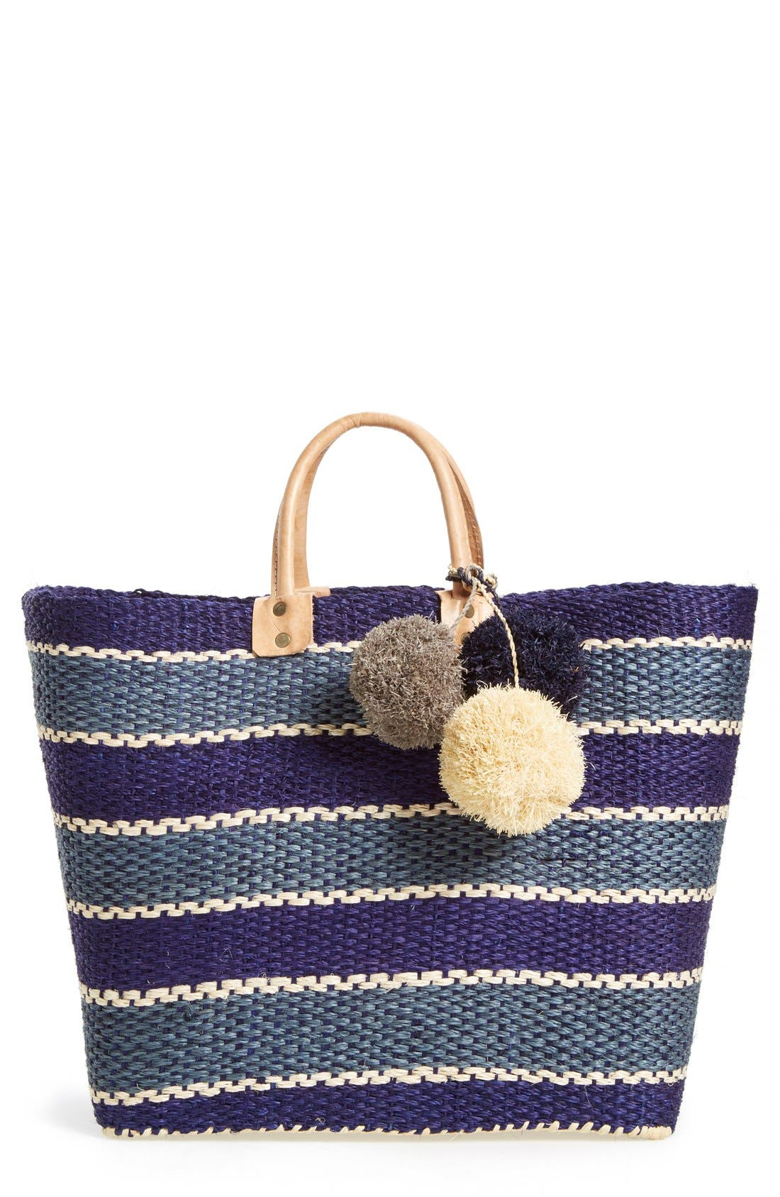Mar y Sol 'Capri' Woven Tote with Pom Charms