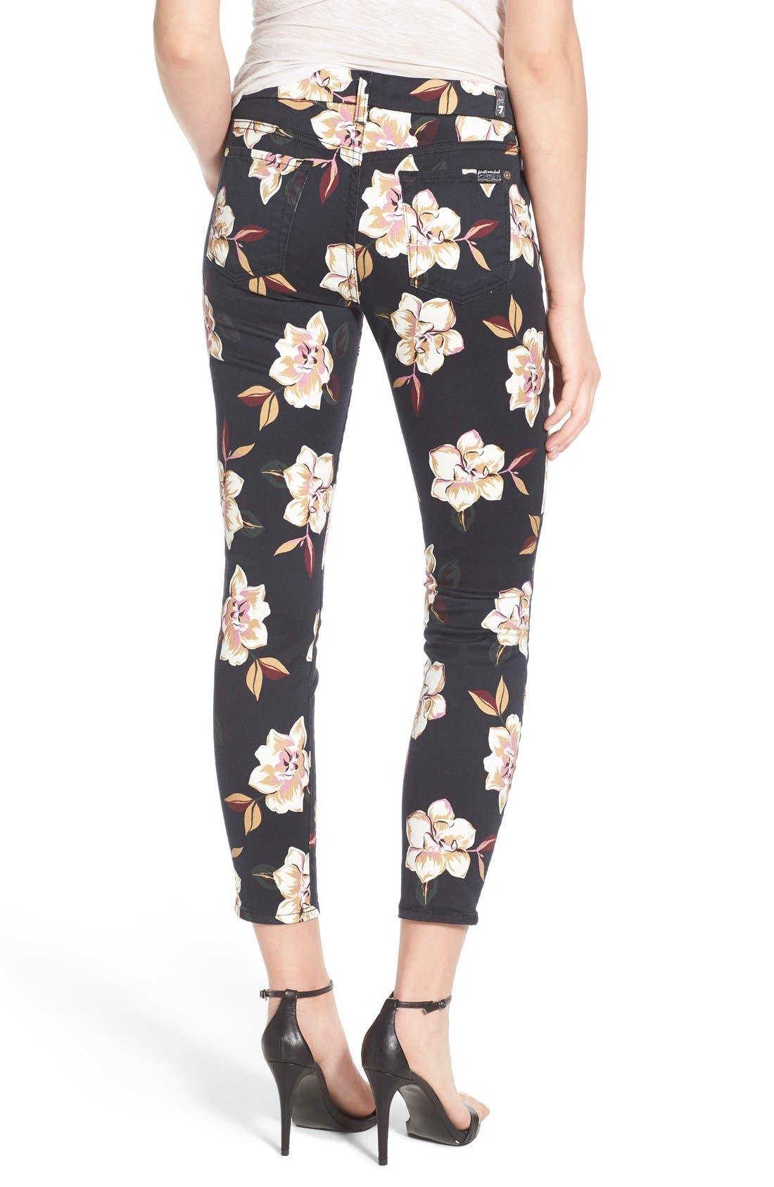 Alternate Image 2  - 7 For All Mankind® Print Ankle Skinny Jeans (Calypso Floral)