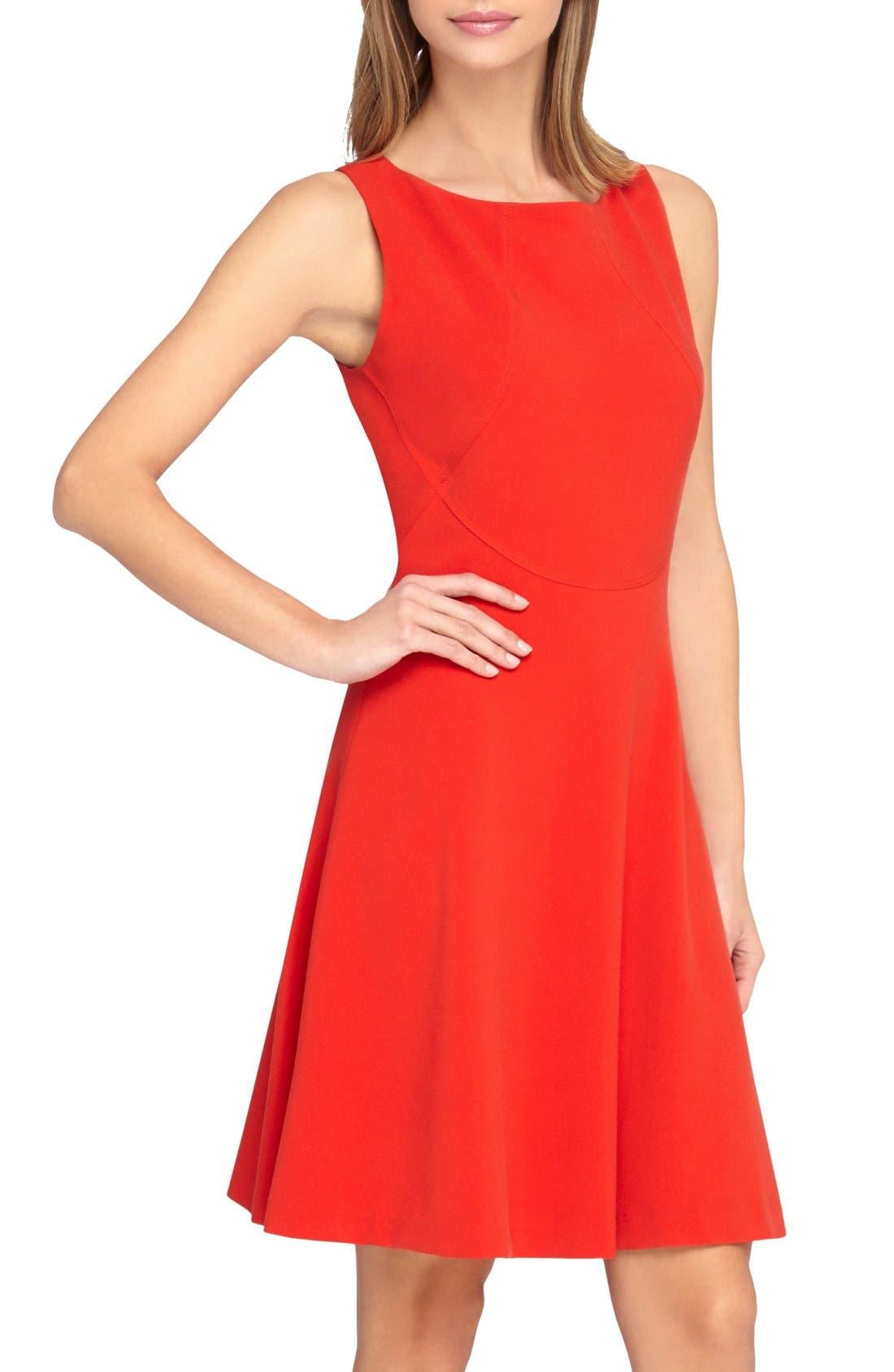Alternate Image 1 Selected - Tahari Seamed Knit Fit & Flare Dress