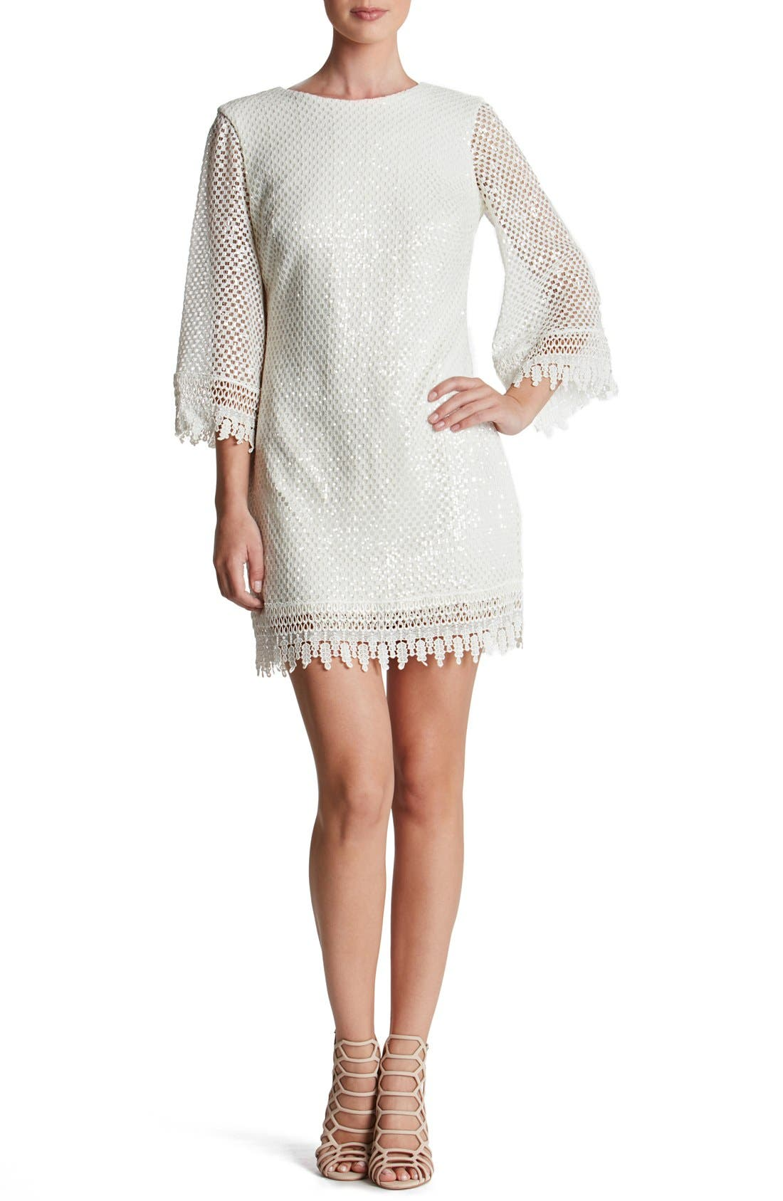 Main Image - Dress the Population 'Phoebe' Sequin Crochet Shift Dress