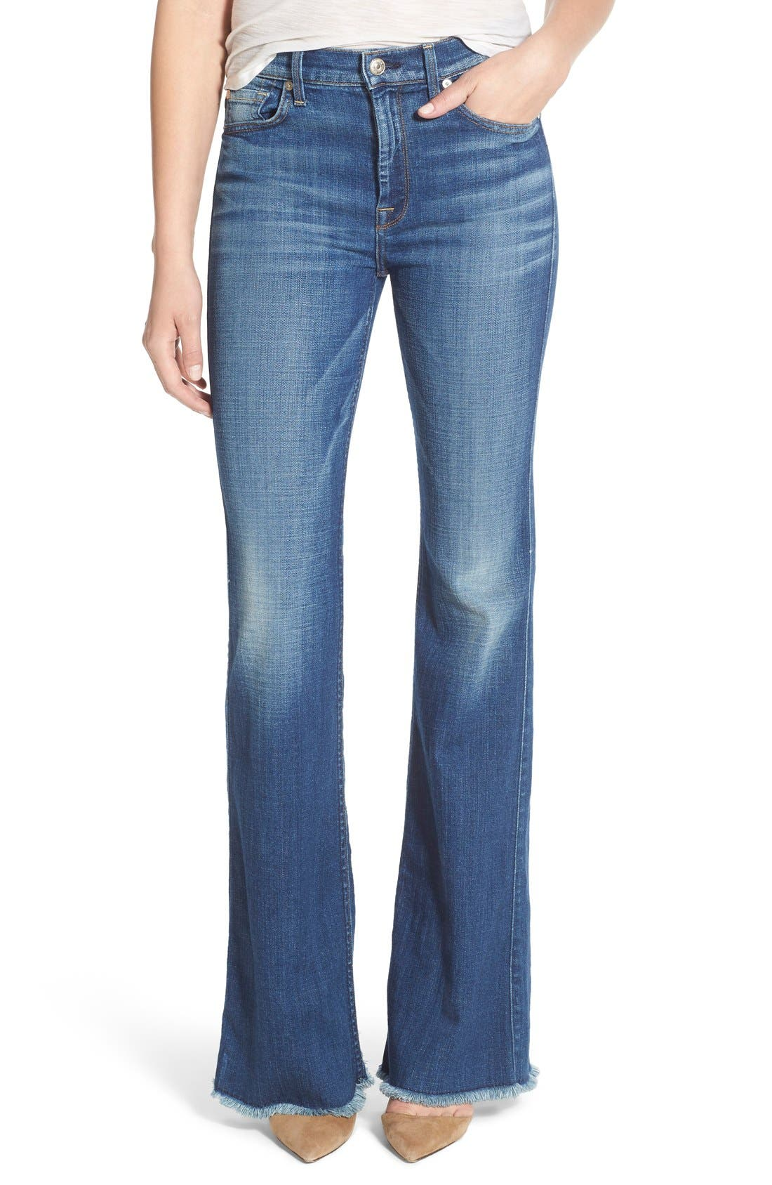Alternate Image 1 Selected - 7 For All Mankind® 'Ginger' High Rise Raw Hem Flare Jeans (Athens Broken Twill)