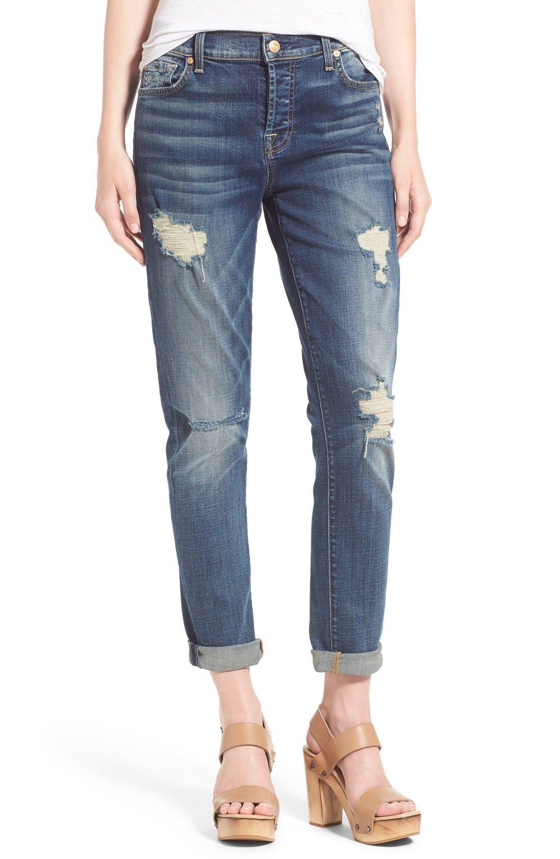 Alternate Image 1 Selected - 7 For All Mankind® 'Josephina' Distressed Boyfriend Jeans (Crete Island)