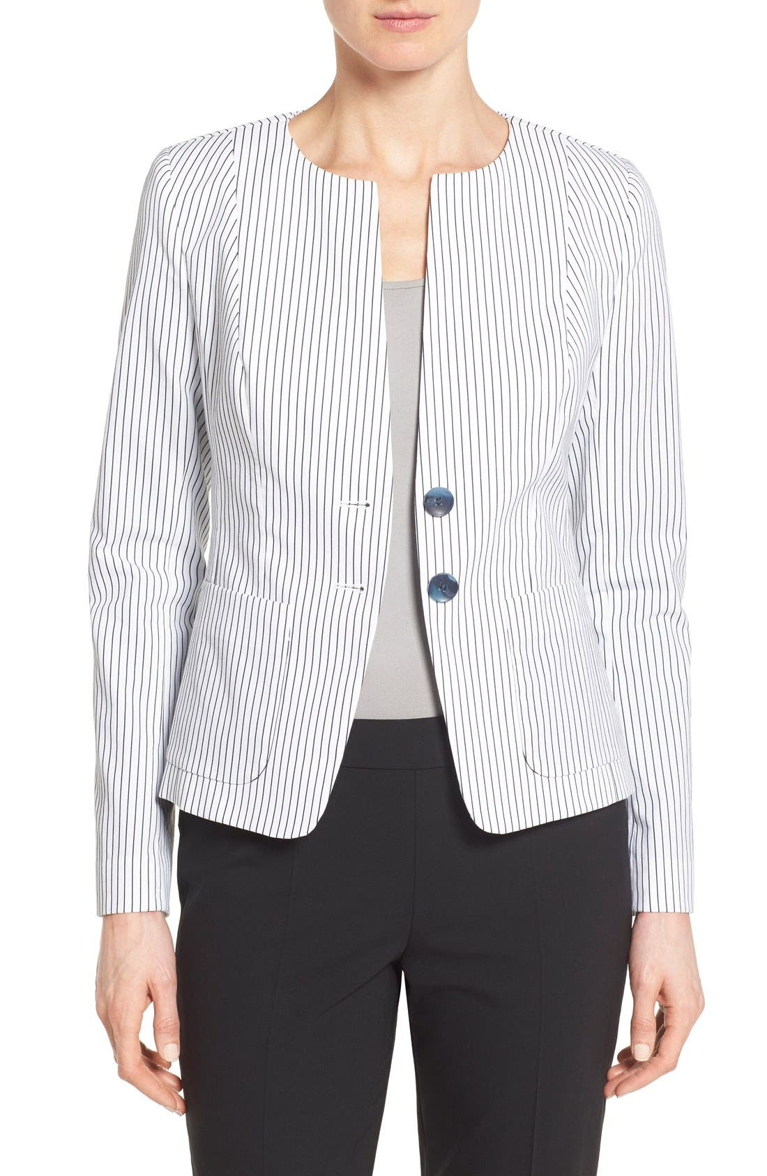 Main Image - Nordstrom Collection 'City Stripe' Collarless Jacket