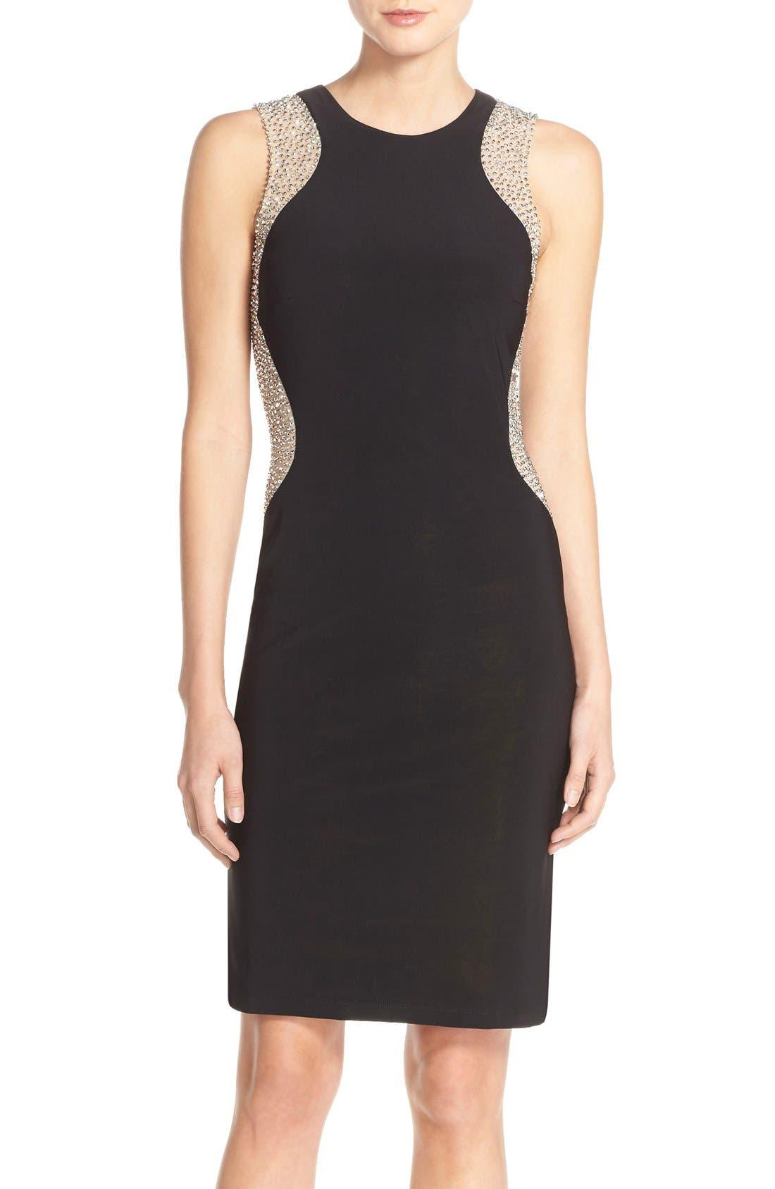 Alternate Image 1 Selected - Xscape Beaded Mesh & Jersey Sheath Dress