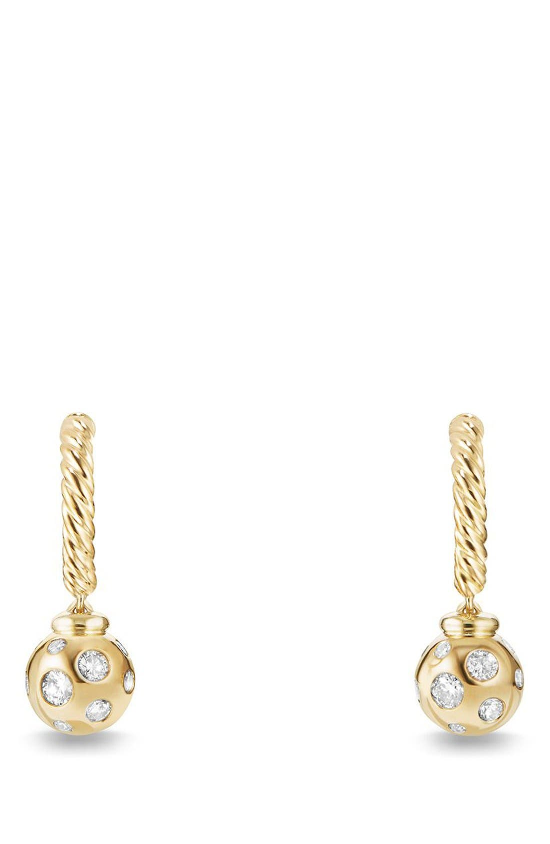 David Yurman 'Solari' Hoop Earrings with Diamonds in 18K Gold