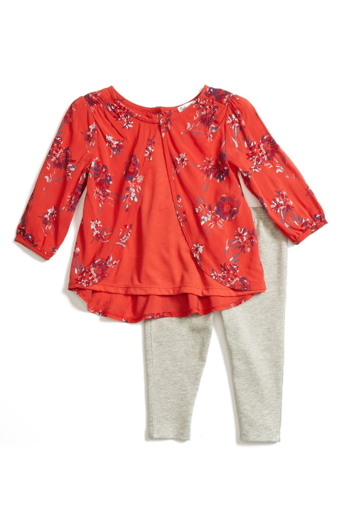 Main Image - Splendid Floral Print Tunic & Leggings Set (Baby Girls)