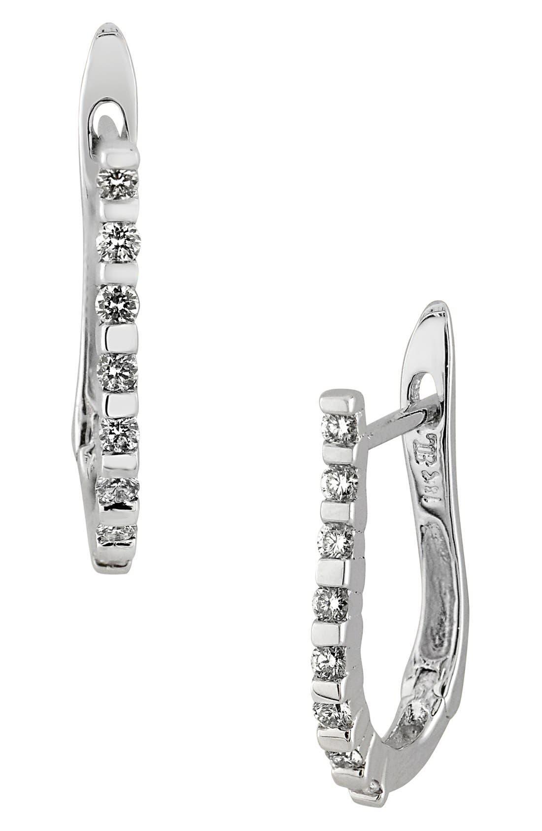BONY LEVY Diamond J-Hoop Earrings