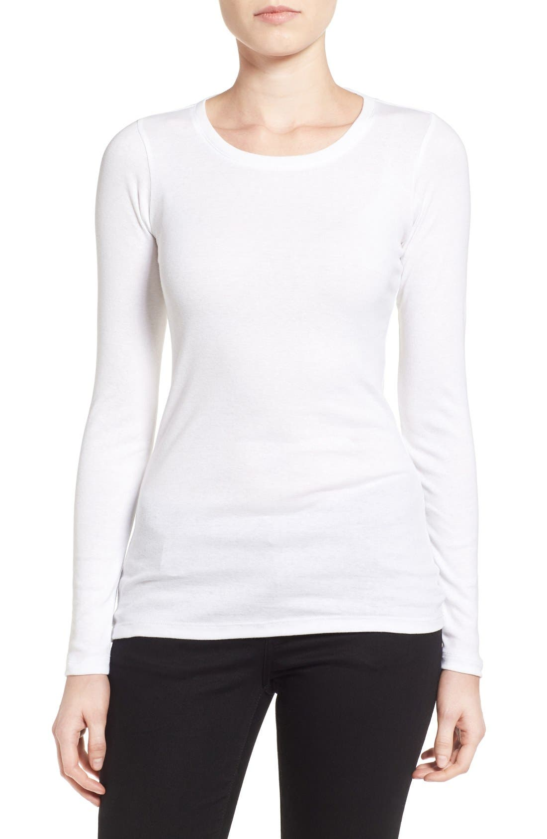 Caslon® Long Sleeve Scoop Neck Cotton Tee (Regular & Petite)
