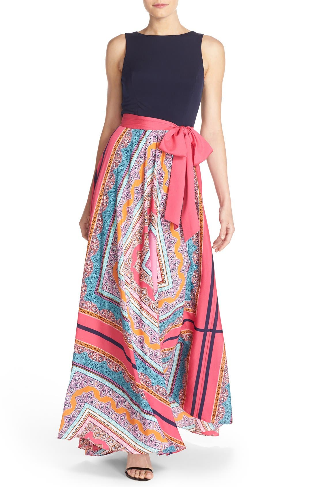 Main Image - Eliza J Scarf Print Jersey & Crêpe de Chine Maxi Dress (Regular & Petite)