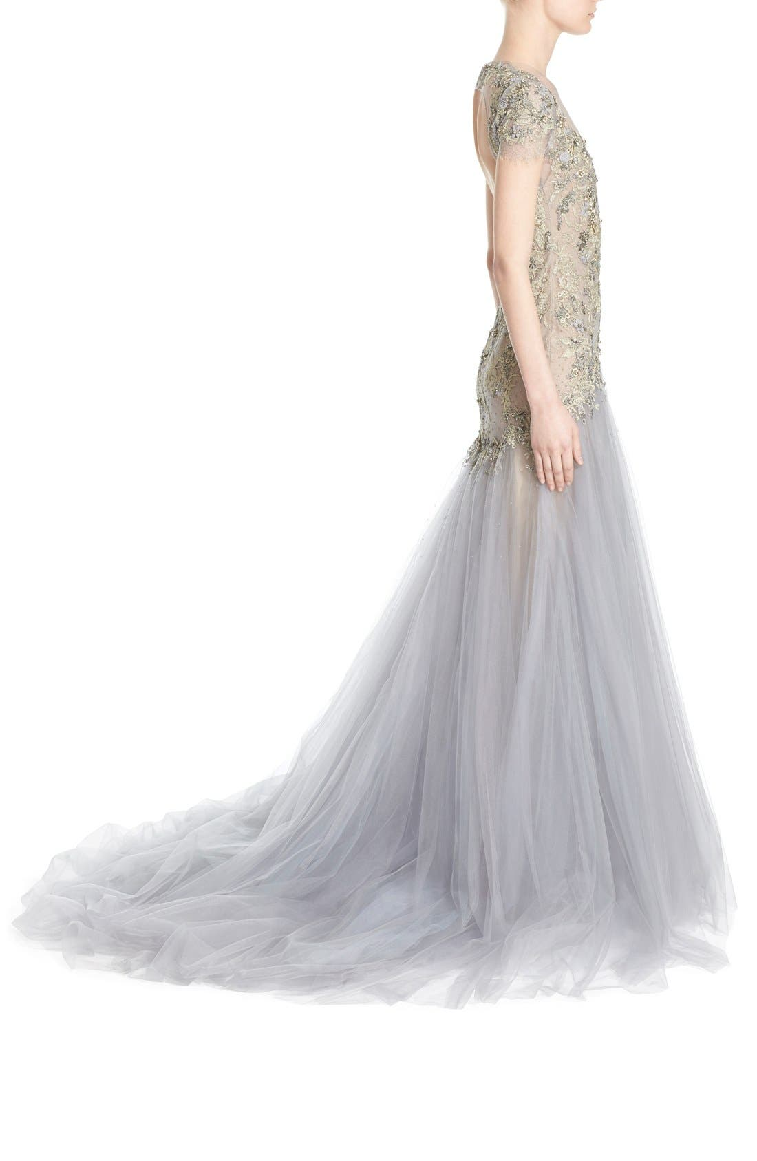 Alternate Image 5  - Marchesa Embroidered Lace & Tulle A-Line Gown