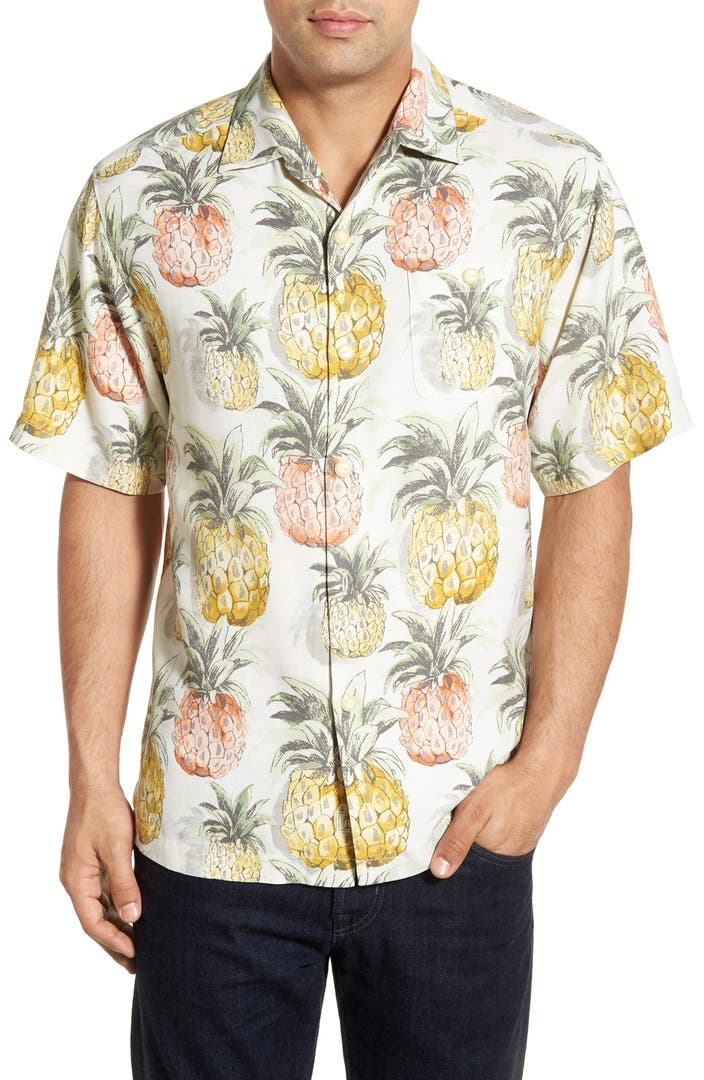 Tommy bahama 39 pi a pavillion 39 original fit pineapple print for Tommy bahama short sleeve silk camp shirt