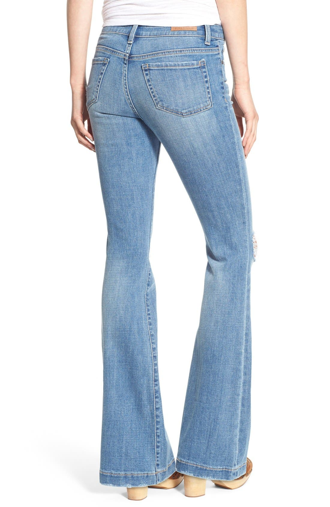 Alternate Image 2  - Sun & Shadow Distressed Flare Jeans (Kelly Blue)