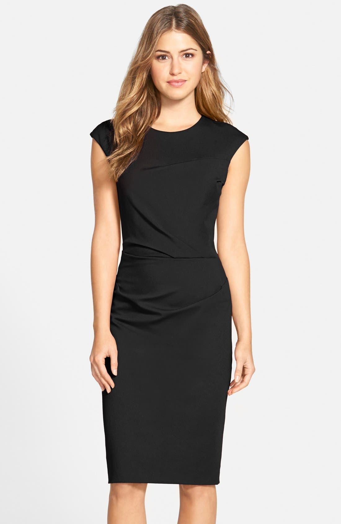 Alternate Image 1 Selected - Betsey Johnson Ruched Ponte Sheath Dress (Online Only)
