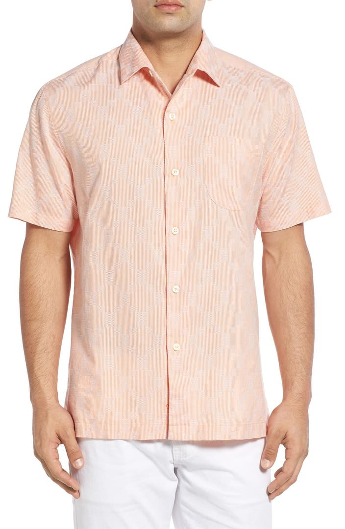Tommy bahama 39 checks caicos 39 original fit cotton silk for Do tommy bahama shirts run big