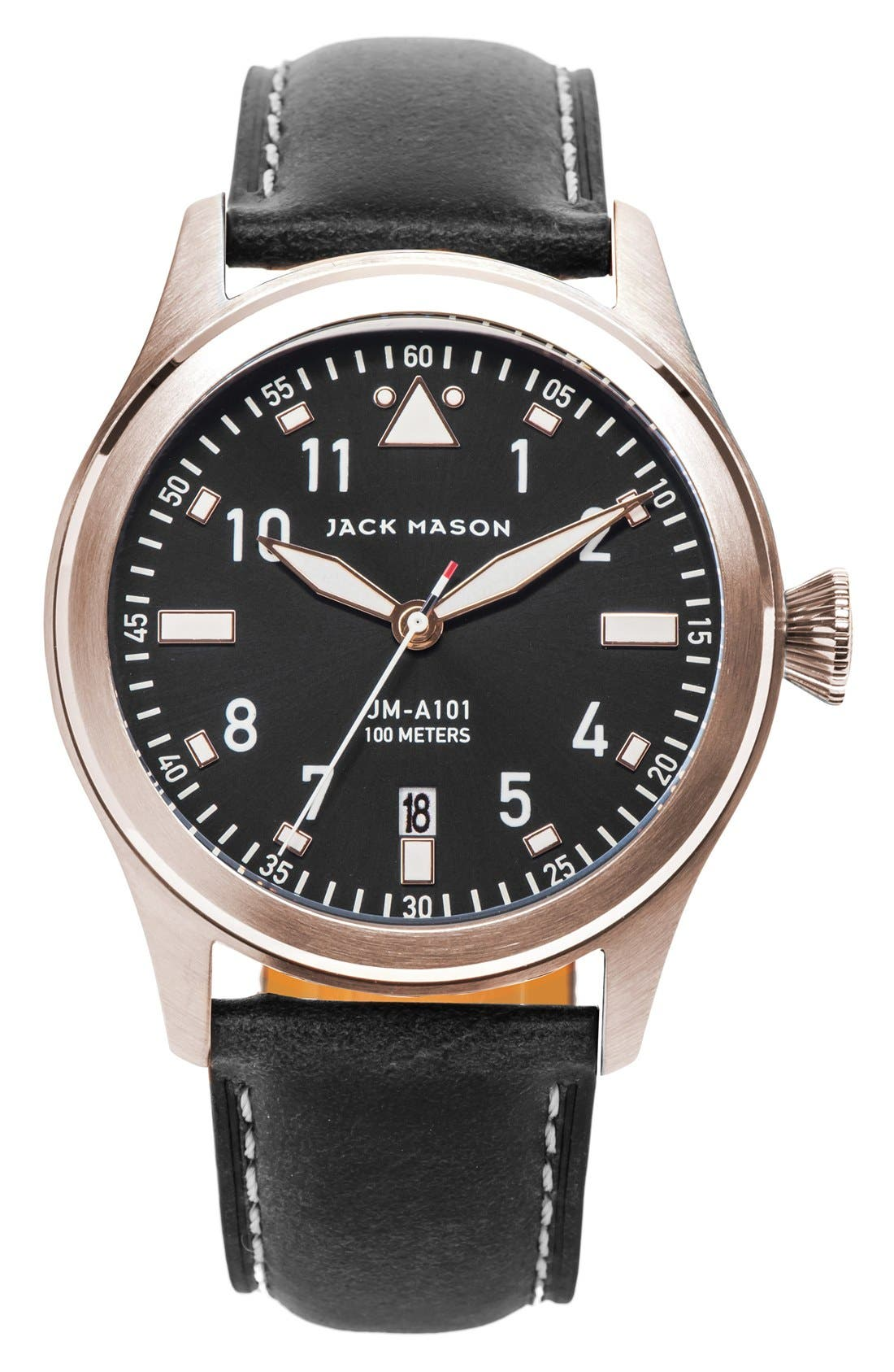 Jack Mason Leather Strap Watch, 42mm