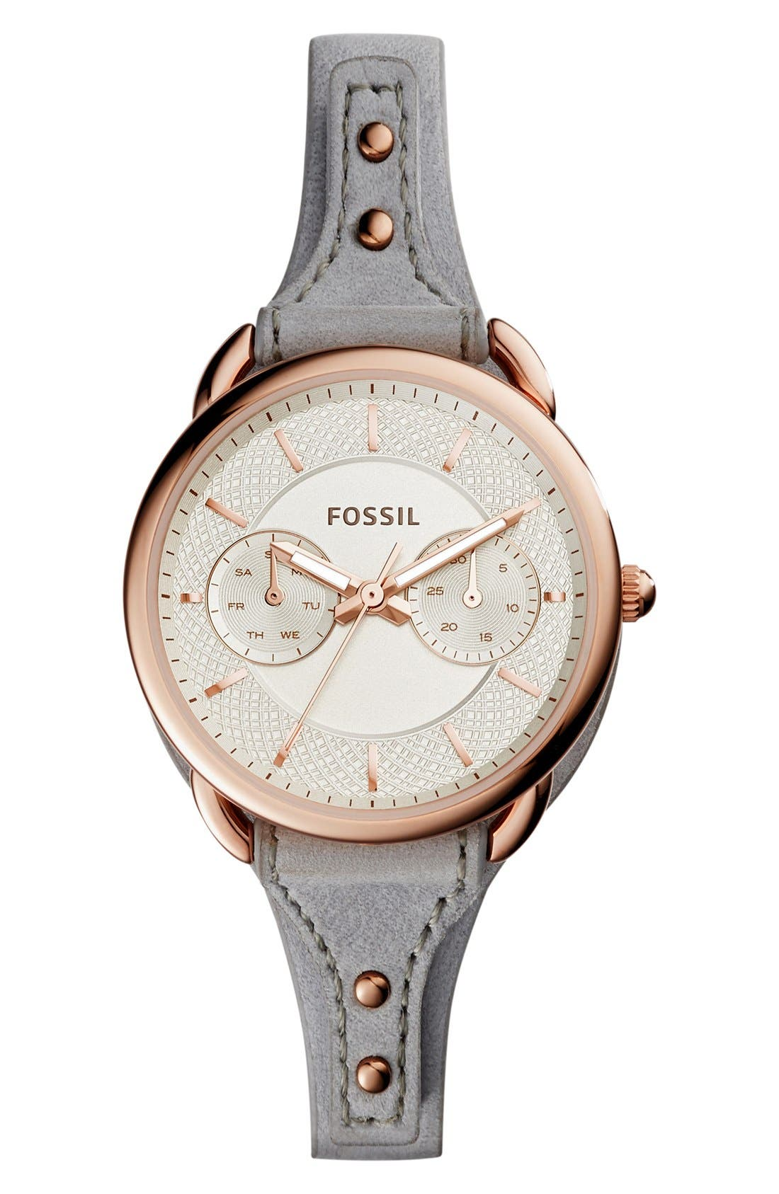 Alternate Image 1 Selected - Fossil 'Tailor' Multifunction Leather Strap Watch, 35mm