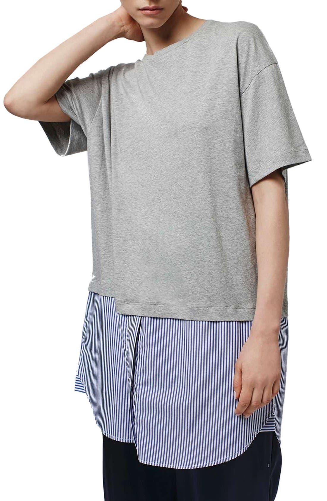 Alternate Image 4  - Topshop Boutique Stripe Shirt Hem T-Shirt Dress