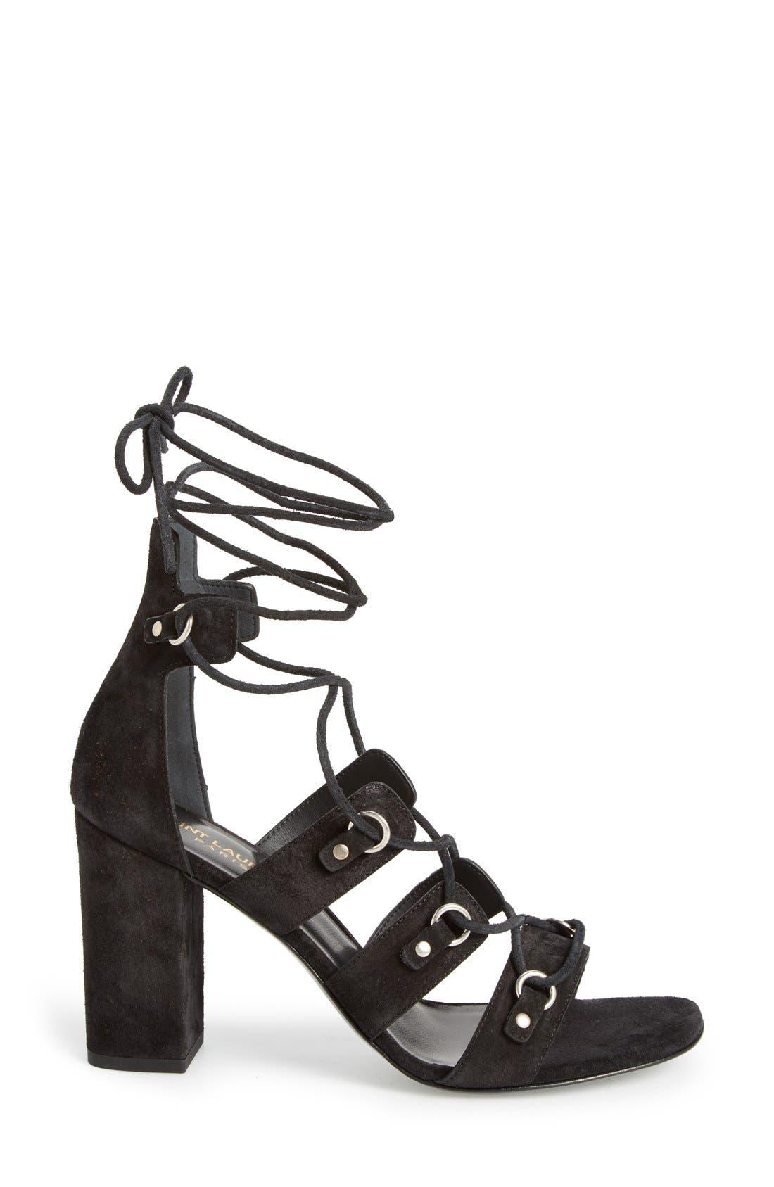 Alternate Image 4  - Saint Laurent 'Babies Eyelet' Block Heel Ghillie Sandal (Women)