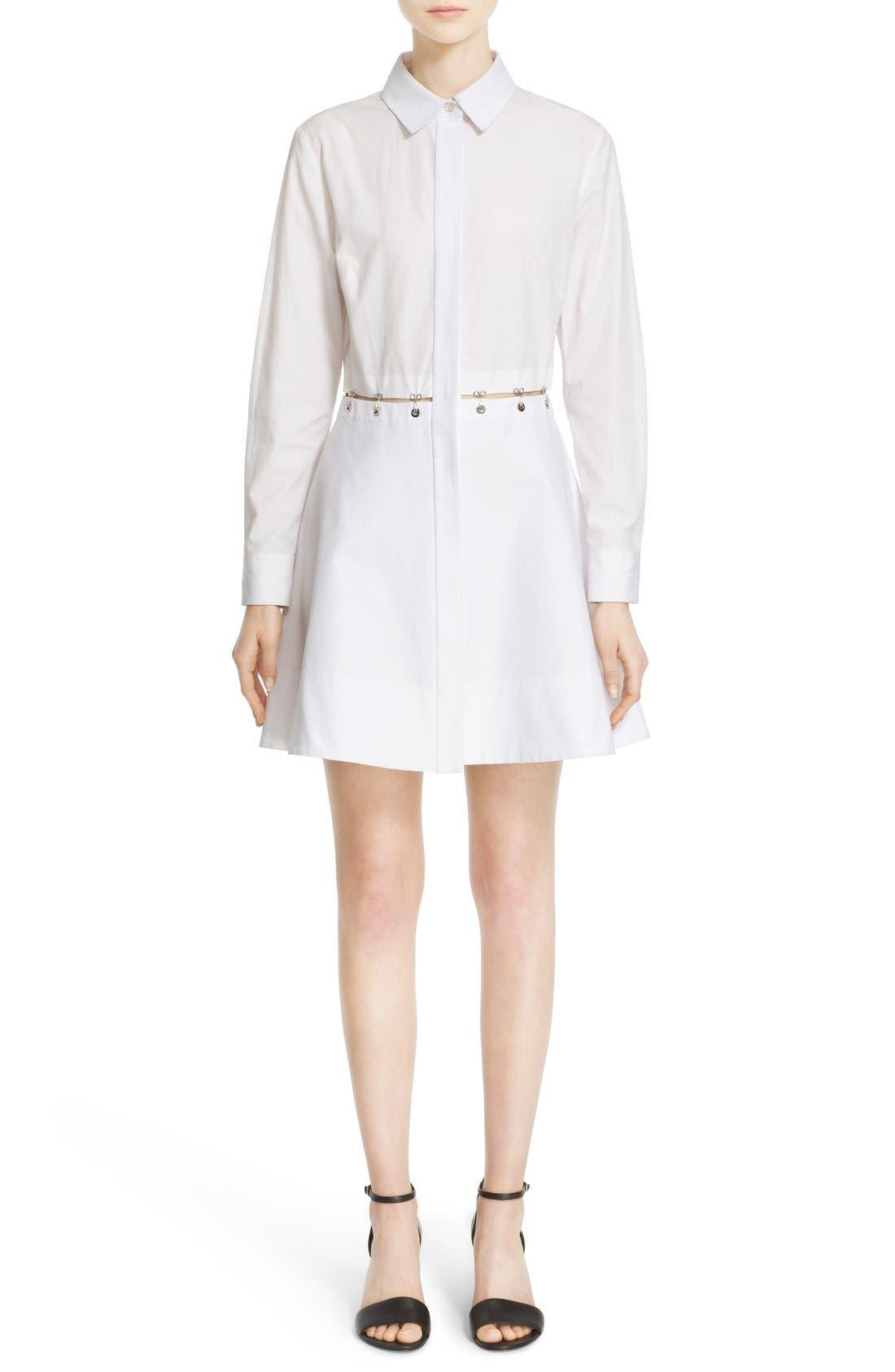 Alternate Image 1 Selected - Alexander Wang Hook & Grommet Detail Cotton Poplin Shirtdress