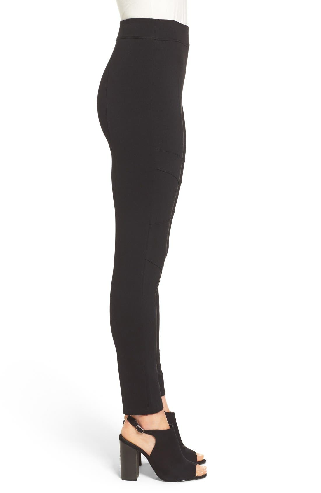 Alternate Image 3  - Two by Vince Camuto Ponte Knit Moto Leggings