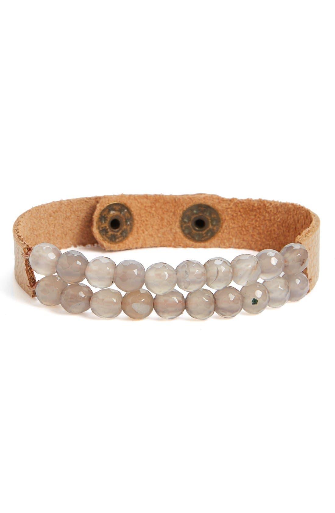 Main Image - Panacea Beige Beaded Leather Bracelet