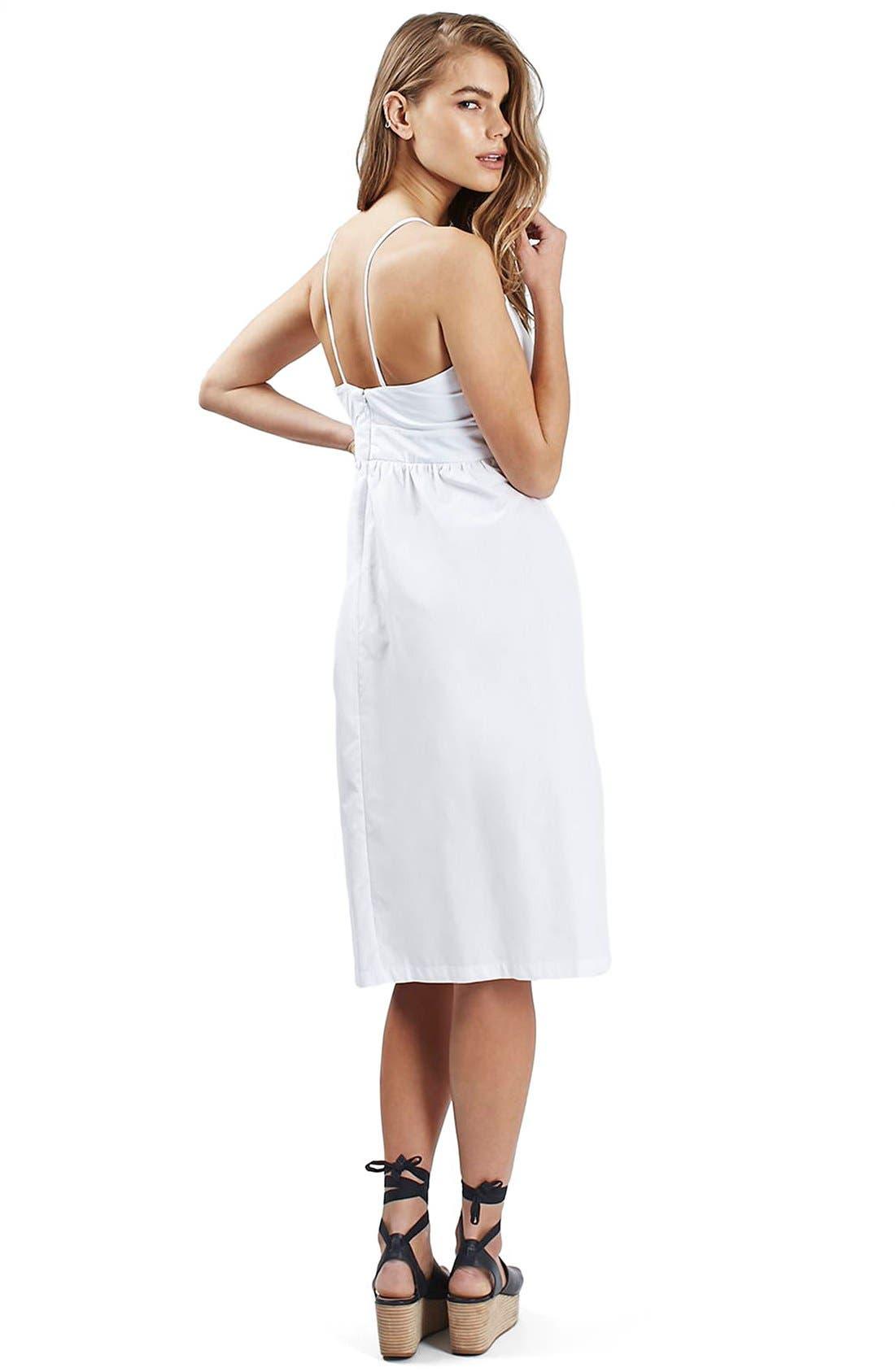 Alternate Image 2  - Topshop Poplin Cutout Bow Midi Dress (Petite)