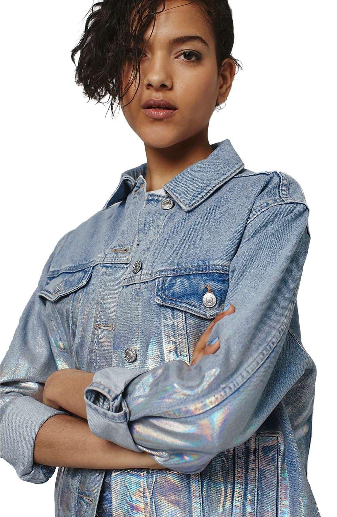 Alternate Image 4  - Topshop Ombré Foil Oversize Denim Jacket