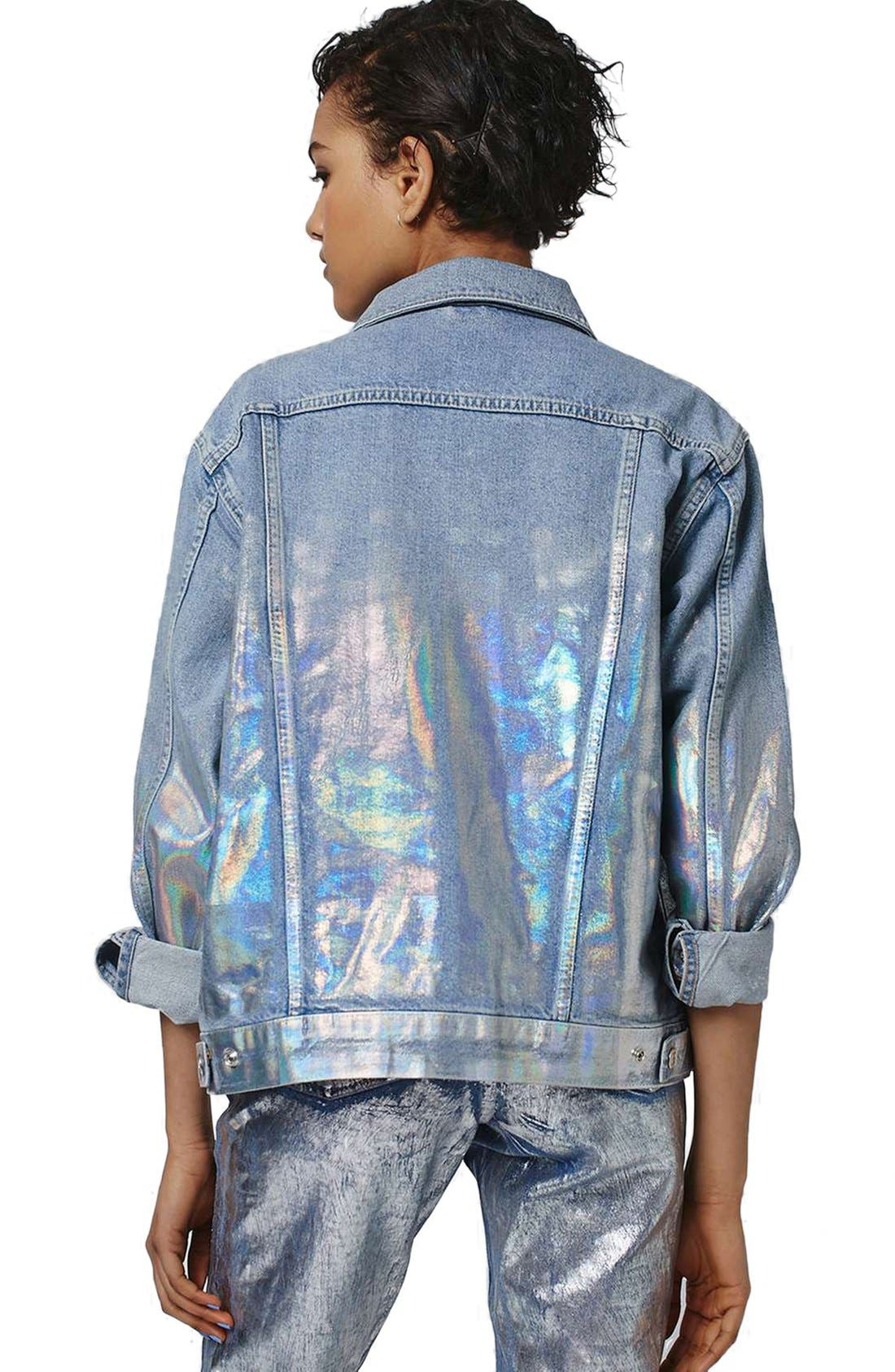Alternate Image 2  - Topshop Ombré Foil Oversize Denim Jacket