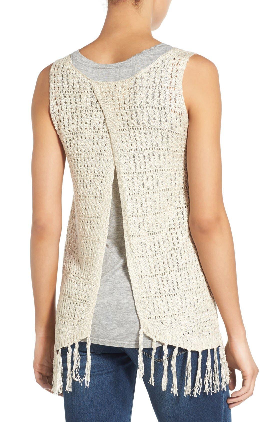 Alternate Image 2  - Wit & Wisdom Fringed Split Back Open Weave Sweater (Nordstrom Exclusive)