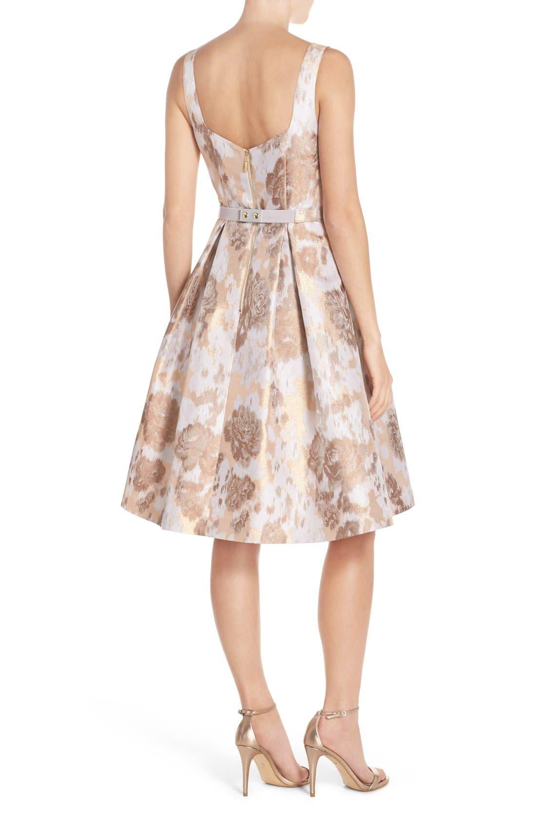 Alternate Image 2  - Eliza J Belted Jacquard Fit & Flare Dress