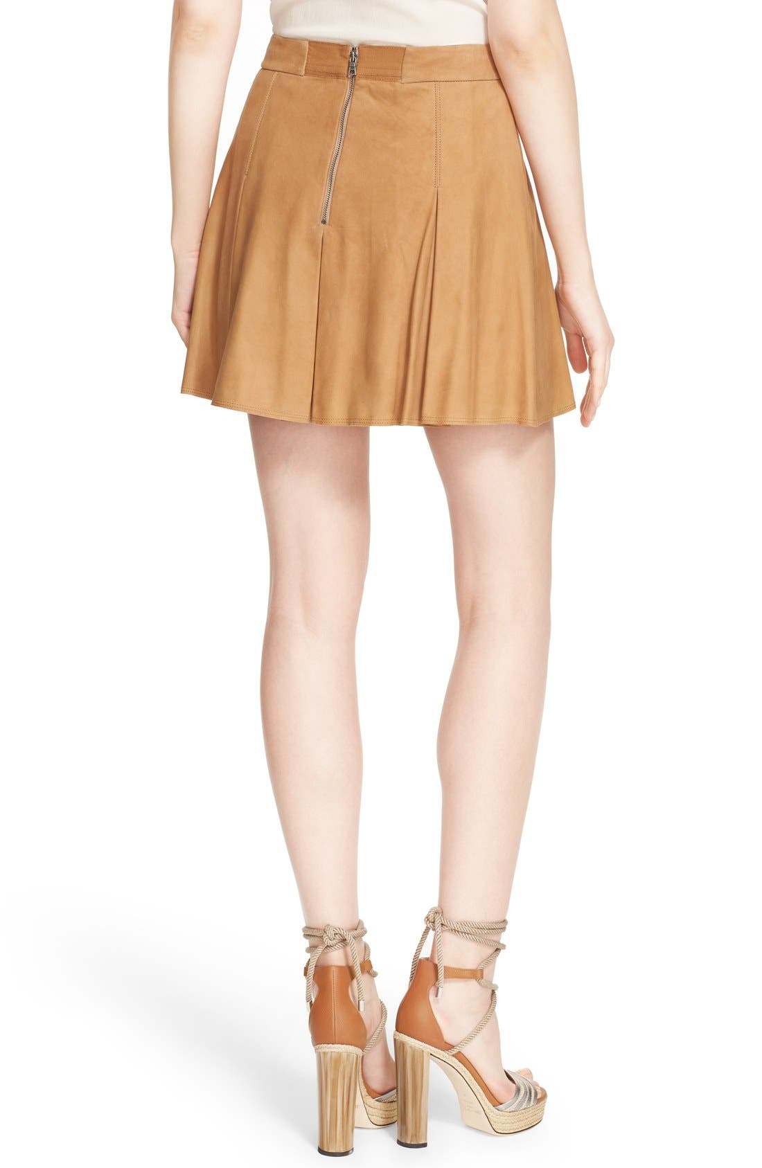 Alternate Image 3  - Alice + Olivia 'Lee' Pleated Suede Skirt