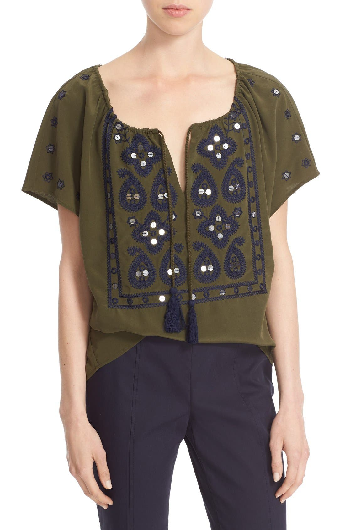 Main Image - Tory Burch 'Camille' Embellished Silk Peasant Top