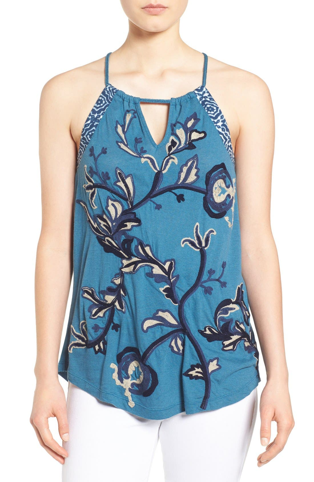 Alternate Image 1 Selected - Lucky Brand Embroidered Keyhole Tank
