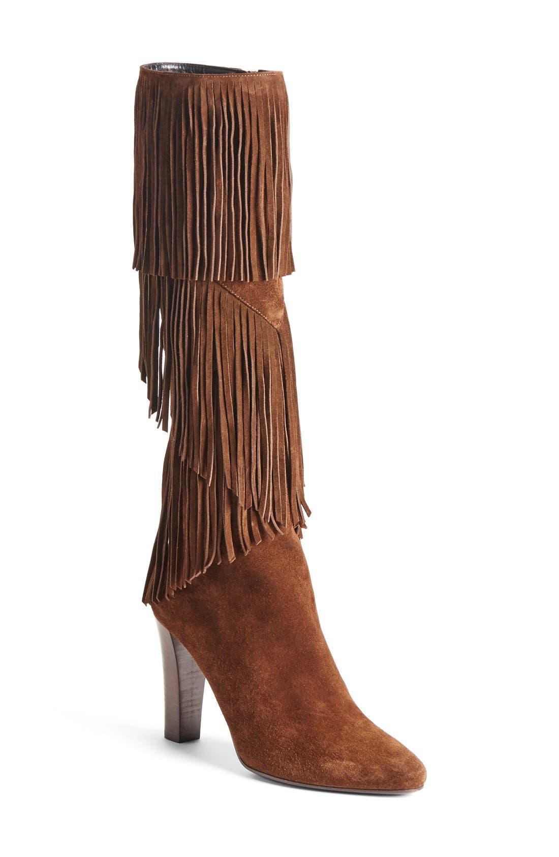 Main Image - Saint Laurent 'Lily' Fringe Tall Boot (Women)