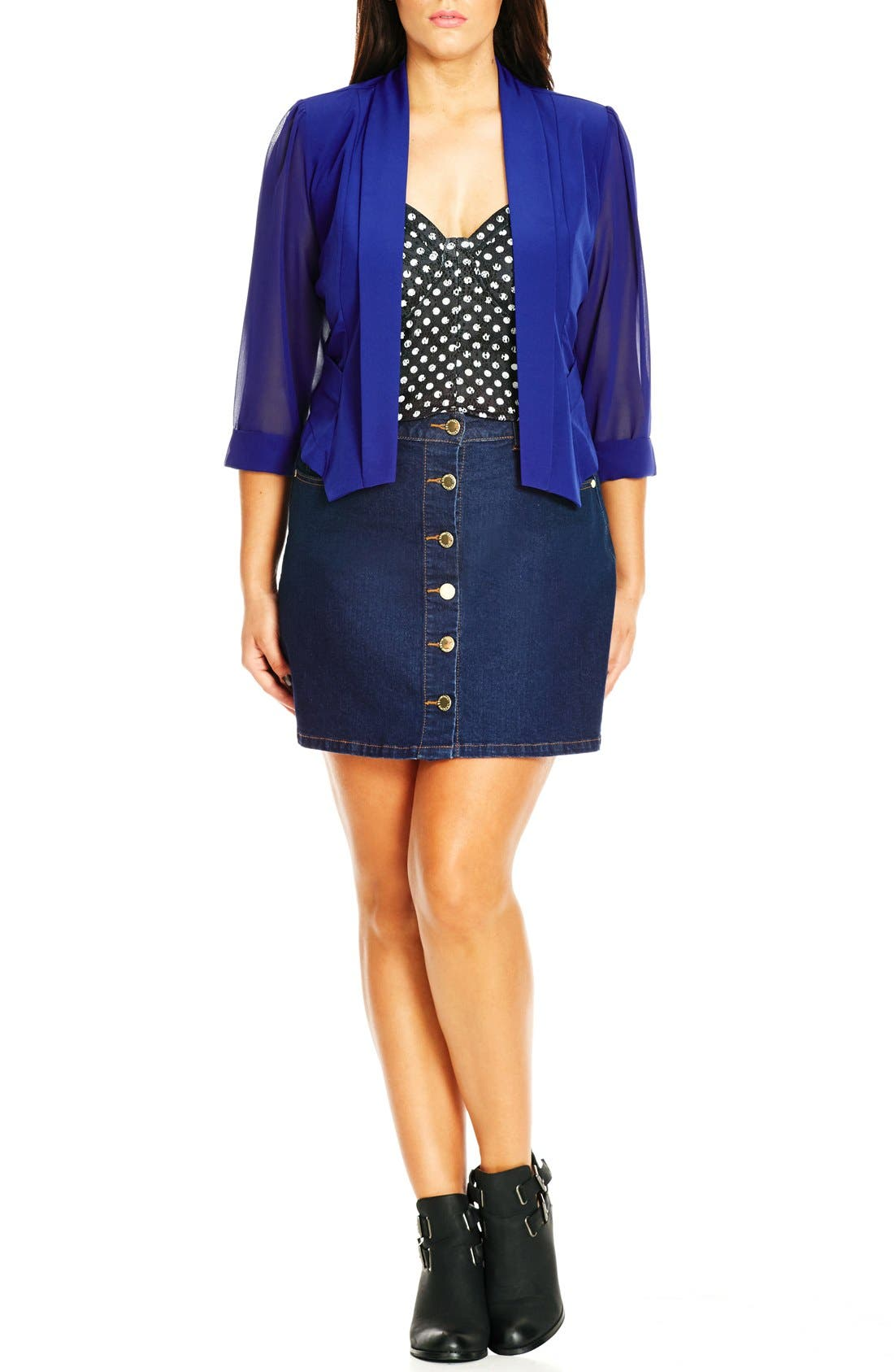 City Chic Chiffon Sleeve Crop Blazer (Plus Size)
