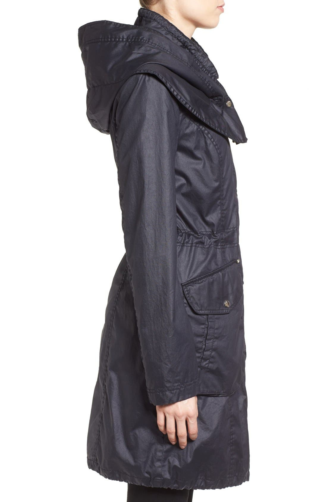Alternate Image 3  - Laundry by Shelli Segal Double Collar Hooded Waxed Cotton Anorak (Regular & Petite)