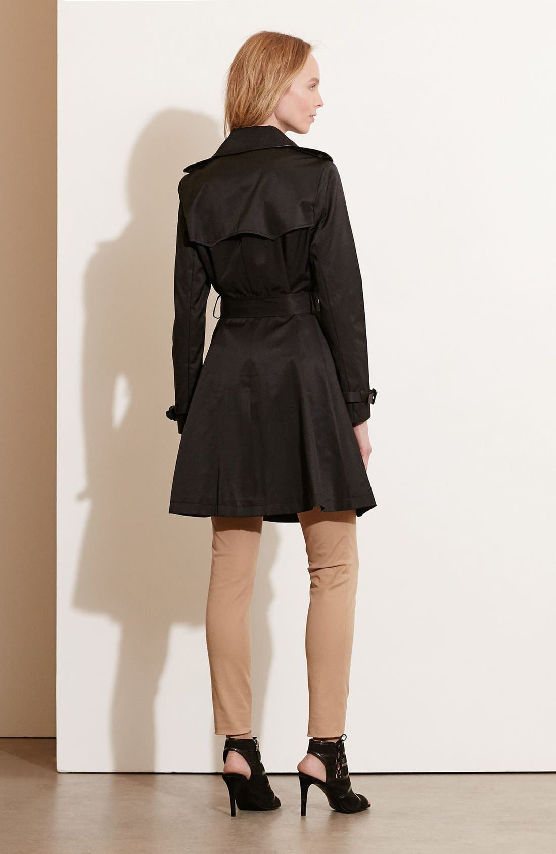 Alternate Image 2  - Lauren Ralph Lauren Faux Leather Trim Trench Coat (Regular & Petite)